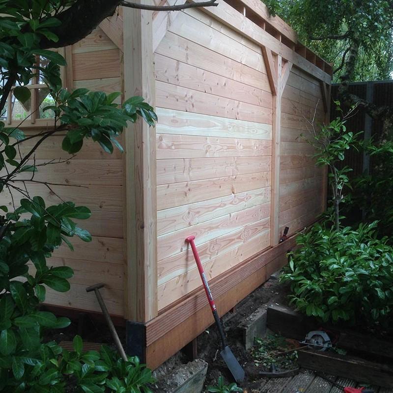 Douglas houten overkapping met hardhouten vlonder - 4 van 10
