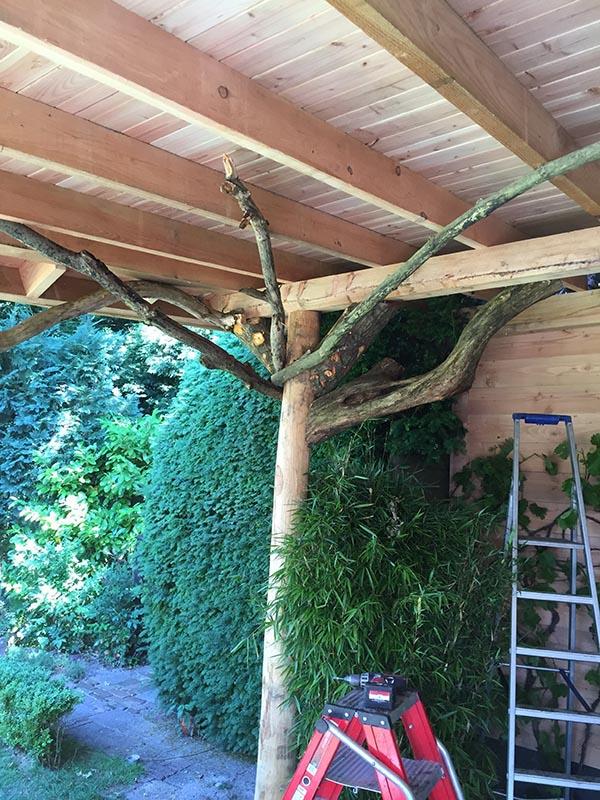 Natuurlijke overkapping van Kastanjehout en Douglas hout  - 19 van 37