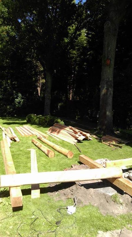 Natuurlijke overkapping van Kastanjehout en Douglas hout  - 8 van 37